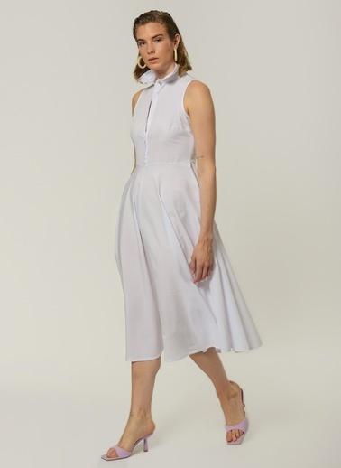 People By Fabrika Kadın Bol Kesim Elbise PFKSS21EL0167 Beyaz